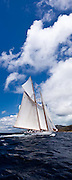 Eleonora sailing in the Windward Race at the Antigua Classic Yacht Regatta.