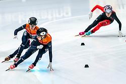Rianne de Vries, Lara van Ruijven in action on the 3000 meter relay during ISU World Cup Finals Shorttrack 2020 on February 15, 2020 in Optisport Sportboulevard Dordrecht.