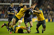 No Sales, Syndication or Archive <br /> <br /> Autumn Tests<br /> Scotland v Australia Saturday 25th November 2017, BT Murrayfield, Edinburgh.<br /> <br /> Tatafu Polota-Nau, Karmichael Hunt and Tevita Kuridrani of Australia tackle Finn Russell of Scotland<br /> <br /> <br /> <br />  Neil Hanna Photography<br /> www.neilhannaphotography.co.uk<br /> 07702 246823