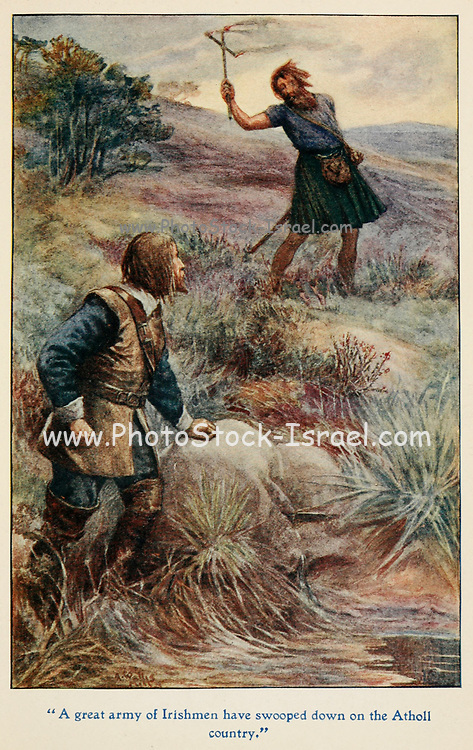 A great army of Irishmen have swooped down on the Atholl country illustrating the Story ' The Marquis of Montrose ' From the book '  The red book of heroes ' by Mrs. Lang, Edited by Andrew Lang, illustrated by A. Wallis Mills, Published by Longmans, Green, and Co. New York, London, Bombay and Calcutta in 1909