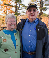 """Carol and Richard Davis  Meredith, NH.  Richard said """"Don't know if I'm excited about either candidate.  Saving grace is that with Trump it won't be status quo and maybe some good will come.  With Clinton I have no faith in her""""  Voted for Donald Trump.  (Karen Bobotas/for the Laconia Daily Sun)"""