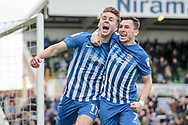 Rhys Oates (Hartlepool United) and Nathan Thomas (Hartlepool United) celebrate scoring the equalising goal to make it 1-1 during the EFL Sky Bet League 2 match between Hartlepool United and Carlisle United at Victoria Park, Hartlepool, England on 14 April 2017. Photo by Mark P Doherty.
