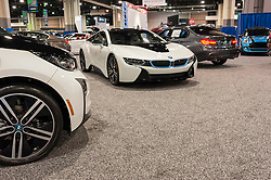 CHARLOTTE, NC, USA - November 11, 2015: BMW i8 on display during the 2015 Charlotte International Auto Show at the Charlotte Convention Center in downtown Charlotte.
