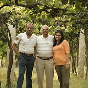 Three generations of wine makers of the Grover family at the Grover vineyards near Bangalore, India.