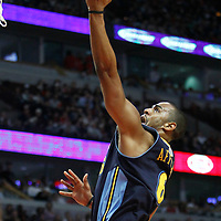 26 March 2012: Denver Nuggets shooting guard Arron Afflalo (6) goes for the layup past Chicago Bulls shooting guard Ronnie Brewer (11) during the Denver Nuggets 108-91 victory over the Chicago Bulls at the United Center, Chicago, Illinois, USA. NOTE TO USER: User expressly acknowledges and agrees that, by downloading and or using this photograph, User is consenting to the terms and conditions of the Getty Images License Agreement. Mandatory Credit: 2012 NBAE (Photo by Chris Elise/NBAE via Getty Images)