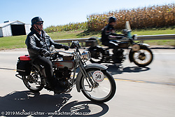 Ted Walters riding his 1916 Harley-Davidson model J on the Motorcycle Cannonball coast to coast vintage run. Stage 6 (260 miles) from Bourbonnais, IL to Cedar Rapids, IA. Thursday September 13, 2018. Photography ©2018 Michael Lichter.