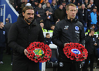 Football - 2019 / 2020 Premier League - Brighton & Hove Albion vs. Norwich City<br /> <br /> Norwich Manager, Daniel Farke and Brighton Manager, Graham Potter carry Reiths in honor of Remembrance  Sunday, at The Amex.<br /> <br /> COLORSPORT/ANDREW COWIE