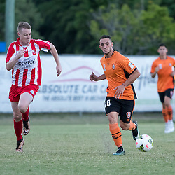 BRISBANE, AUSTRALIA - FEBRUARY 25: Nicholas Panetta of the Roar passes the ball during the NPL Queensland Senior Men's Round 1 match between Olympic FC and Brisbane Roar Youth at Goodwin Park on February 25, 2017 in Brisbane, Australia. (Photo by Patrick Kearney/Olympic FC)