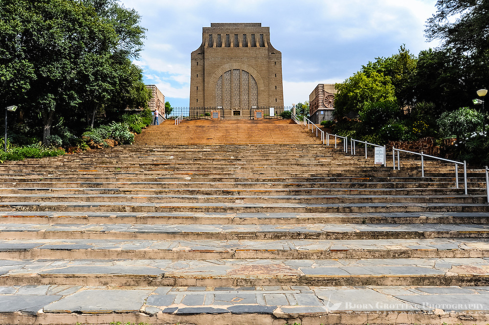 The Voortrekker Monument is situated in Pretoria, South Africa. Built in memory of the Voortrekkers, pioneers who left the Cape Colony in the thousands between 1835 and 1854.