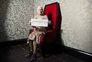 Portrait of Fashion Designer Dame Vivienne Westwood Wednesday 12 June, 2014.<br /> <br /> #talkfracking<br /> <br /> Photos by Ki Price
