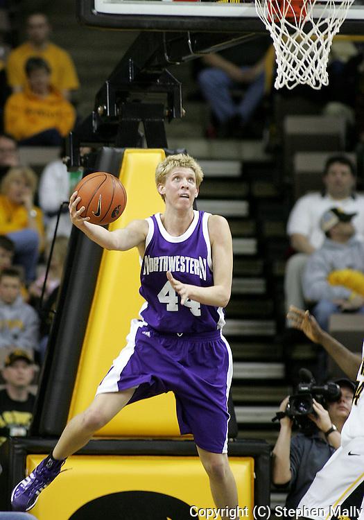 15 FEBRUARY 2007: Northwestern forward Kevin Coble (44) puts up a shot in Iowa's 66-58 win over Northwestern at Carver-Hawkeye Arena in Iowa City, Iowa on February 15, 2007.