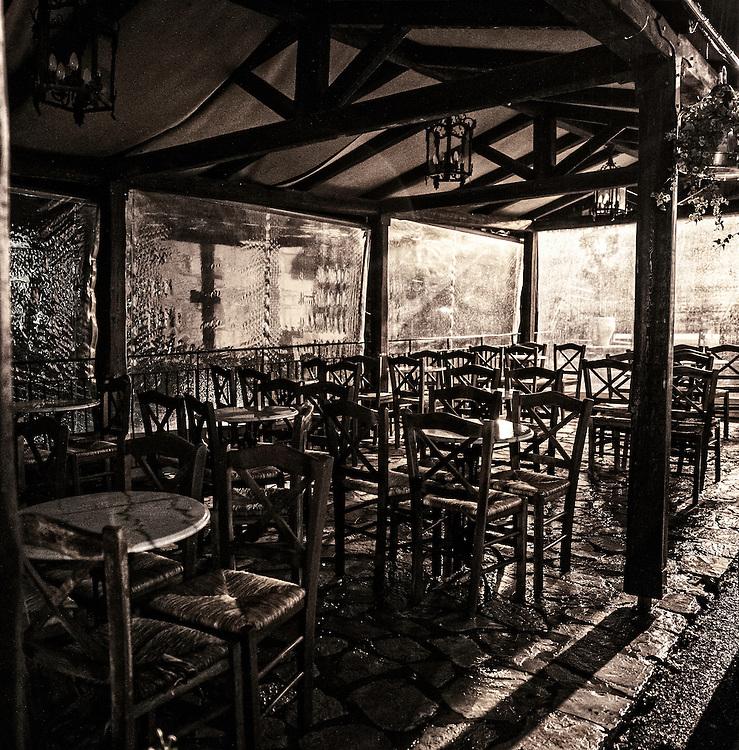 Empty Taverna late on a rainy evening