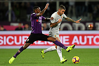 Gerson of Fiorentina and Aleksandar Kolarov of AS Roma compete for the ball during the Serie A 2018/2019 football match between ACF Fiorentina and AS Roma at stadio Artemio Franchi, Firenze, November 03, 2018 <br />  Foto Andrea Staccioli / Insidefoto
