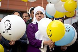 Shelina Begum, the mother of Tafida Raqeeb, attends a balloon release at the Royal London Hospital, Whitechapel. Five-year-old Tafida's parents won a High Court battle with hospital bosses earlier this month, when a judge ruled the youngster could be moved to the Gaslini children's hospital in Genoa.