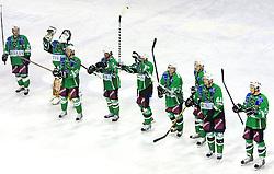Olimpija celebrates at 39th Round of EBEL League ice hockey match between HDD Tilia Olimpija and Acroni Jesenice, on December 30, 2008, in Arena Tivoli, Ljubljana, Slovenia. Tilia Olimpija won 4:3.(Photo by Vid Ponikvar / SportIda).