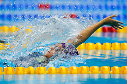 Franchesca Halsall of Lougbbrough finishes second in the Womens 100m Backstroke Final - Photo mandatory by-line: Rogan Thomson/JMP - 07966 386802 - 16/04/2015 - SPORT - SWIMMING - The London Aquatics Centre, England - Day 3 - British Swimming Championships 2015.