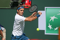 March 15, 2019 - Indian Wells, CA, U.S. - INDIAN WELLS, CA - MARCH 15: Roger Federer (SUI) watches the ball during the BNP Paribas Open on March 15, 2019 at Indian Wells Tennis Garden in Indian Wells, CA. (Photo by George Walker/Icon Sportswire) (Credit Image: © George Walker/Icon SMI via ZUMA Press)