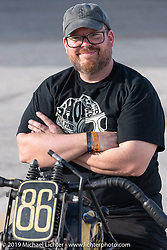Mike Silvio with his Cyclemos number 86 WLDR 1941 Harley-Davidson 45 ci Flathead he built for the Sons of Speed Vintage Motorcycle Races at New Smyrina Speedway. New Smyrna Beach, USA. Saturday, March 9, 2019. Photography ©2019 Michael Lichter.