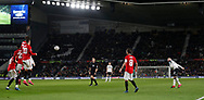 Wayne Rooney of Derby County forces a save from Sergio Romero of Manchester United with a free kick during the FA Cup match at the Pride Park Stadium, Derby. Picture date: 5th March 2020. Picture credit should read: Darren Staples/Sportimage