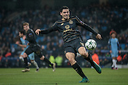 Tom Rogic (Celtic) about to clear the ball during the Champions League match between Manchester City and Celtic at the Etihad Stadium, Manchester, England on 6 December 2016. Photo by Mark P Doherty.