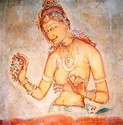 Wall Painting on Rock Fortress, Sigiriya Rock, Sri Lanka