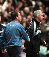 Photo: Tony Oudot.<br />Charlton Athletic v West Ham United. The Barclays Premiership. 24/02/2007.<br />Managers Alan Curbishley of West Ham and Alan Pardew of Charlton shake hands at the end of the game