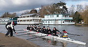 Molesey, Surrey. Crew in front of the Molesey BC Boathouse. Molesey Veterans Head. Saturday  21/02/2015  [Mandatory Credit; Peter Spurrier/Intersport-images]