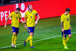 November 20, 2018 - Stockholm, SWEDEN - 181120 Marcus Berg , Andreas Granqvist and Kristoffer Olsson of Sweden celebrates the 2-0 goal during the Nations League football match between Sweden and Russia on November 20, 2018 in Stockholm  (Credit Image: © Simon HastegRd/Bildbyran via ZUMA Press)