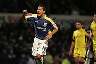 Cardiff City's Michael Chopra celebrates his goal scored from a penalty. Coca Cola championship, Cardiff city v Preston NE at Ninian Park on Sat 6th Dec 2008. pic by Andrew Orchard,Andrew Orchard sports photography