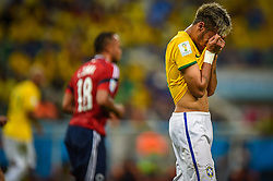 Neymar Jr na partida entre Brasil x Colombia, válida pelas quartas de final da Copa do Mundo 2014, no Estádio Castelão, em Fortaleza-CE. FOTO: Jefferson Bernardes/ Agência Preview