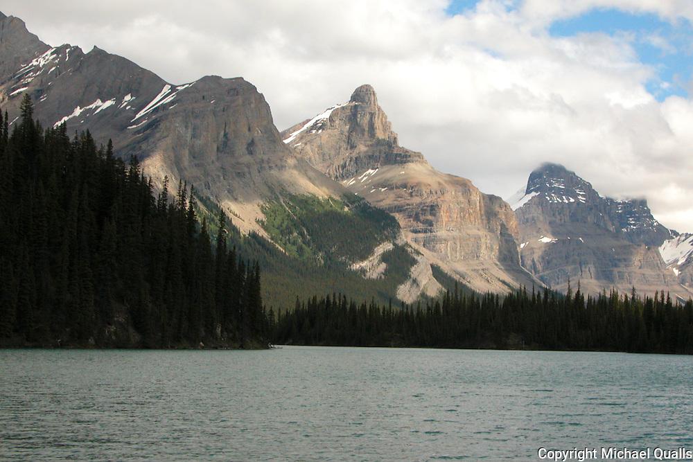 Lake Malinge and mountain peaks at Jasper, Alberta