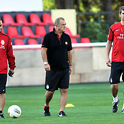 Galatasaray's coach Fatih TERIM (C) during their training session at the Jupp Derwall training center in Istanbul Turkey on Thursday,  August 20, 2011. Photo by TURKPIX