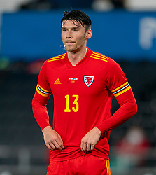 SWANSEA, WALES - Thursday, November 12, 2020: Wales' Kieffer Moore spits during an International Friendly match between Wales and the USA at the Liberty Stadium. (Pic by David Rawcliffe/Propaganda)