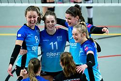 Team Zwolle yell with Marly Bak of Zwolle, Sanne Konijnenberg of Zwolle, Nynke Hofstede of Zwolle before the first league match between Djopzz Regio Zwolle Volleybal - Laudame Financials VCN on February 27, 2021 in Zwolle.