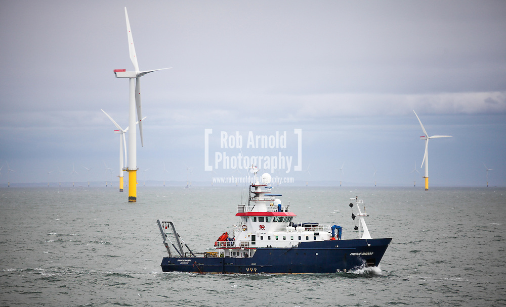 17/03/2014. Gwnt y Mor Wind Farm, North Wales, UK. Survey vessel, Prince Madog, conducting survey operations on the Gwynt y Mor Wind Farm off the coast of North Wales. Photo credit : Rob Arnold