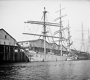 0610-04. ship Christel and tug Alexandria in Portland harbor before the sea wall was constructed. The German ship visited Portland several times between 1902 and 1905.