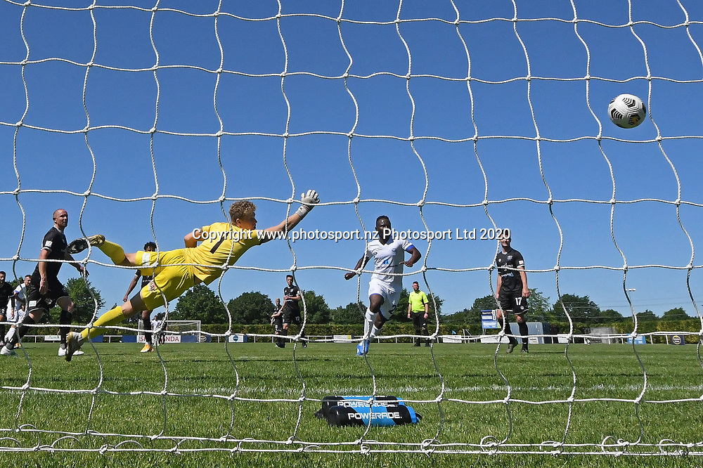 Hawkes Bay United's Scott Morris dives but fails to save a goal in the Handa Premiership football match, Hawke's Bay United v Hamilton Wanderers, Bluewater Stadium, Napier, Sunday, November 15, 2020. Copyright photo: Kerry Marshall / www.photosport.nz