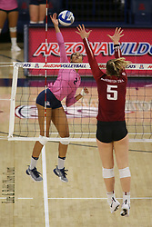 October 7, 2018 - Tucson, AZ, U.S. - TUCSON, AZ - OCTOBER 07: Arizona Wildcats middle blocker Candice Denny (2) hits the ball during a college volleyball game between the Arizona Wildcats and the Washington State Cougars on October 07, 2018, at McKale Center in Tucson, AZ. Washington State defeated Arizona 3-2. (Photo by Jacob Snow/Icon Sportswire) (Credit Image: © Jacob Snow/Icon SMI via ZUMA Press)