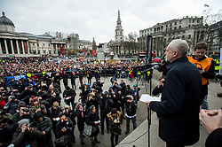 © Licensed to London News Pictures. 26/02/2016. London, UK. Leader of the labour party JEREMY CORBYN addresses the crowd while on stage at Trafalgar Square at a CND (Campaign for Nuclear Disarmament) rally in central London on February 27, 2016. Corbyn has been criticised for publicly supporting the CND campaign while Labour Party policy  backs the renewal of Trident nuclear programme. Photo credit: Ben Cawthra/LNP