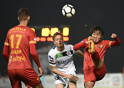 October 13, 2017 - Tubize, BELGIUM - Tubize's Wook Ki Hwang and OHL's Mathieu Maertens fight for the ball during a soccer game between AFC Tubize and OH Leuven, in Tubize, Friday 13 October 2017, on the eleventh day of the division 1B Proximus League competition of the Belgian soccer championship. BELGA PHOTO JOHN THYS (Credit Image: © John Thys/Belga via ZUMA Press)