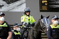 A heavy mounted Police Presence was on hand during the protest on 06 June, 2020 in Melbourne, Australia. This event was organised to rally against aboriginal deaths in custody in Australia as well as in unity with protests across the United States following the killing of an unarmed black man George Floyd at the hands of a police officer in Minneapolis, Minnesota. (Photo by Brett Keating/ Speed Media)
