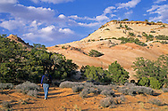 Hiker on trail to Aztec Butte, Island in the Sky District, Canyonlands National Park, UTAH