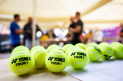 PORTOROZ, SLOVENIA - SEPTEMBER 16:  Yonex balls during the WTA 250 Zavarovalnica Sava Portoroz at SRC Marina, on September 16, 2021 in Portoroz / Portorose, Slovenia. Photo by Vid Ponikvar / Sportida