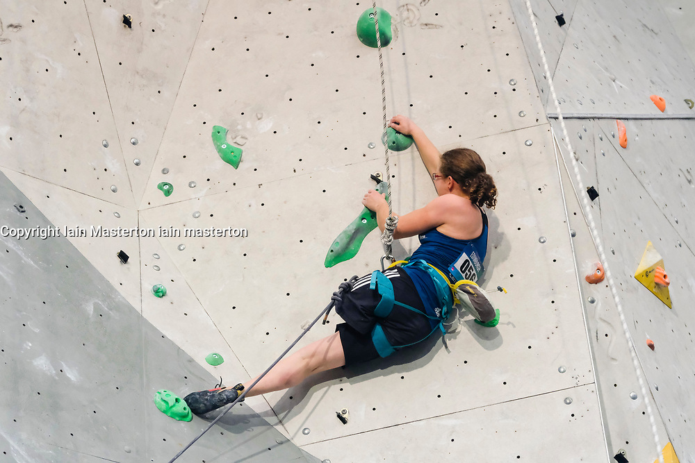 Lucie Jarrige of France competes in Women RP3 Paraclimbing Cup at  the International Federation of Sport Climbing (IFSC) World Cup 2017 at Edinburgh International Climbing Arena, Scotland, United Kingdom.