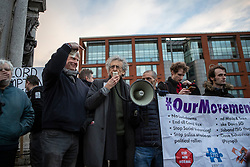 © Licensed to London News Pictures. 12/12/2020. Manchester, UK. Piers Corbyn speaks to the crowd at North Unites protest in Piccadilly Gardens, Manchester. Photo credit: Kerry Elsworth/LNP