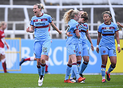 Emily van Egmond of West Ham United Women celebrates after a defelection leads to a goal - Mandatory by-line: Ryan Hiscott/JMP - 13/12/2020 - FOOTBALL - Twerton Park - Bath, England - Bristol City Women v West Ham United Women - Barclays FA Women's Super League