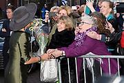 Koningin Maxima verricht in de Augustijnenkerk de opening van de tentoonstelling Een Koninklijk Paradijs - Aert Schouman en de verbeelding van de natuur in het Dordrechts Museum.<br /> <br /> Queen Maxima performed in the Augustinian Church, the opening of the exhibition A Royal Paradise - Aert Schouman and imagination of nature in the Dordrecht Museum.<br /> <br /> op de foto / On the photo:  Aankomst bij het dordrechts museum / Arrival at the museum
