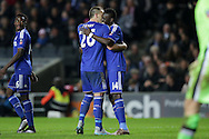 Bertrand Traore of Chelsea celebrates with John Terry, the Chelsea captain after scoring his sides 5th goal to make it 1-5. The Emirates FA cup, 4th round match, MK Dons v Chelsea at the Stadium MK in Milton Keynes on Sunday 31st January 2016.<br /> pic by John Patrick Fletcher, Andrew Orchard sports photography.