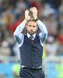 KALININGRAD, June 28, 2018  Head coach Gareth Southgate of England greets the audience after the 2018 FIFA World Cup Group G match between England and Belgium in Kaliningrad, Russia, June 28, 2018. Belgium won 1-0.  England and Belgium advanced to the round of 16. (Credit Image: © Cao Can/Xinhua via ZUMA Wire)