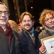 NLD/Amsterdam/20160311 - Inloop Boekenbal 2016, Bastiaan Geleijnse, John Reid en Jean-Marc van Tol